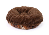 Exotic Fur Brown/Gold & Chocolate Mink Bagel Bed