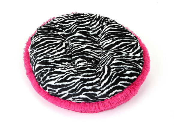 Zebra & Hot Pink Shag Bagel Bed