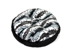 Exotic Black/Grey and Black Shag Bagel Bed