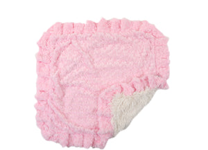 Pink Rosebud with Cream Shag Blanket