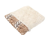 Snow Leopard & Cream Shag Cuddle Pouch
