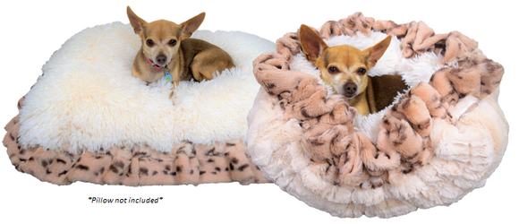 Cream Mink, Snow Leopard, & Cream Shag Travel Bed/Blanket