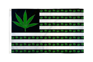 Marijuana Leaf USA Flag 3x5