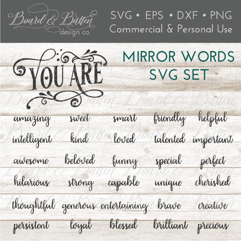 Encouraging Mirror Words SVG File Set - Commercial Use SVG Files