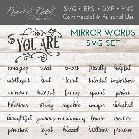 Encouraging Mirror Words SVG File Set