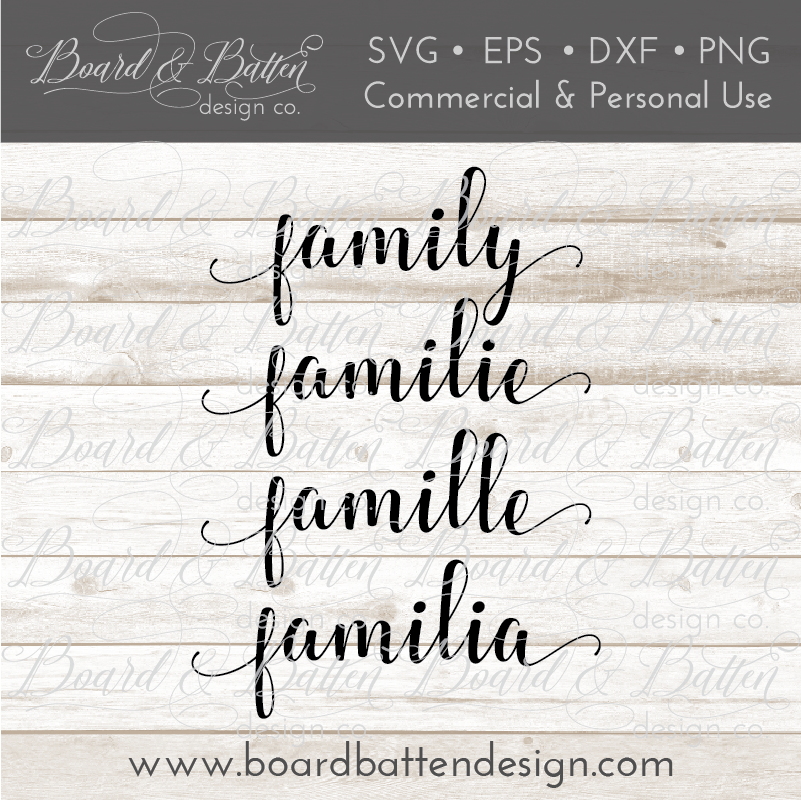 Family Multi-Language SVG File - Commercial Use SVG Files