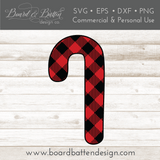Buffalo Plaid Candy Cane Shape Layered SVG - Commercial Use SVG Files
