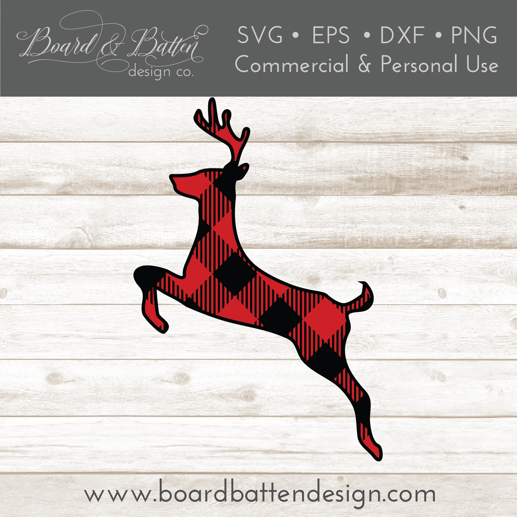 Buffalo Plaid Leaping Deer Shape Layered SVG - Commercial Use SVG Files
