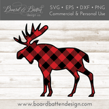 Buffalo Plaid Moose Shape Layered SVG - Commercial Use SVG Files