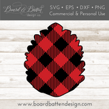 Buffalo Plaid Pine Cone Shape Layered SVG - Commercial Use SVG Files