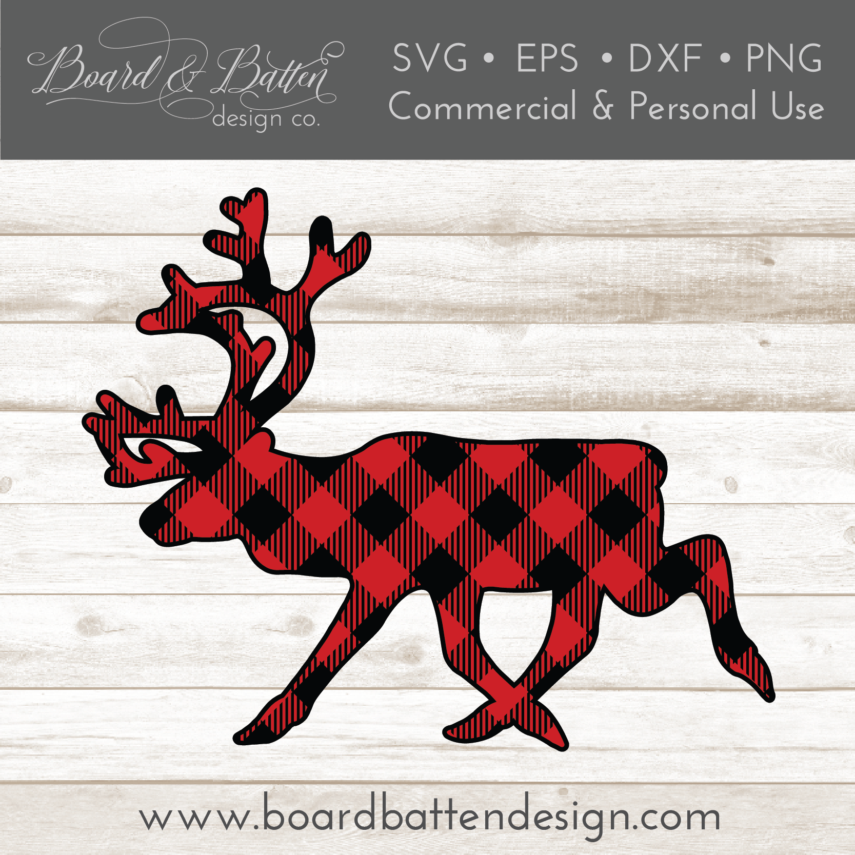 Buffalo Plaid Reindeer Shape Layered SVG - Commercial Use SVG Files