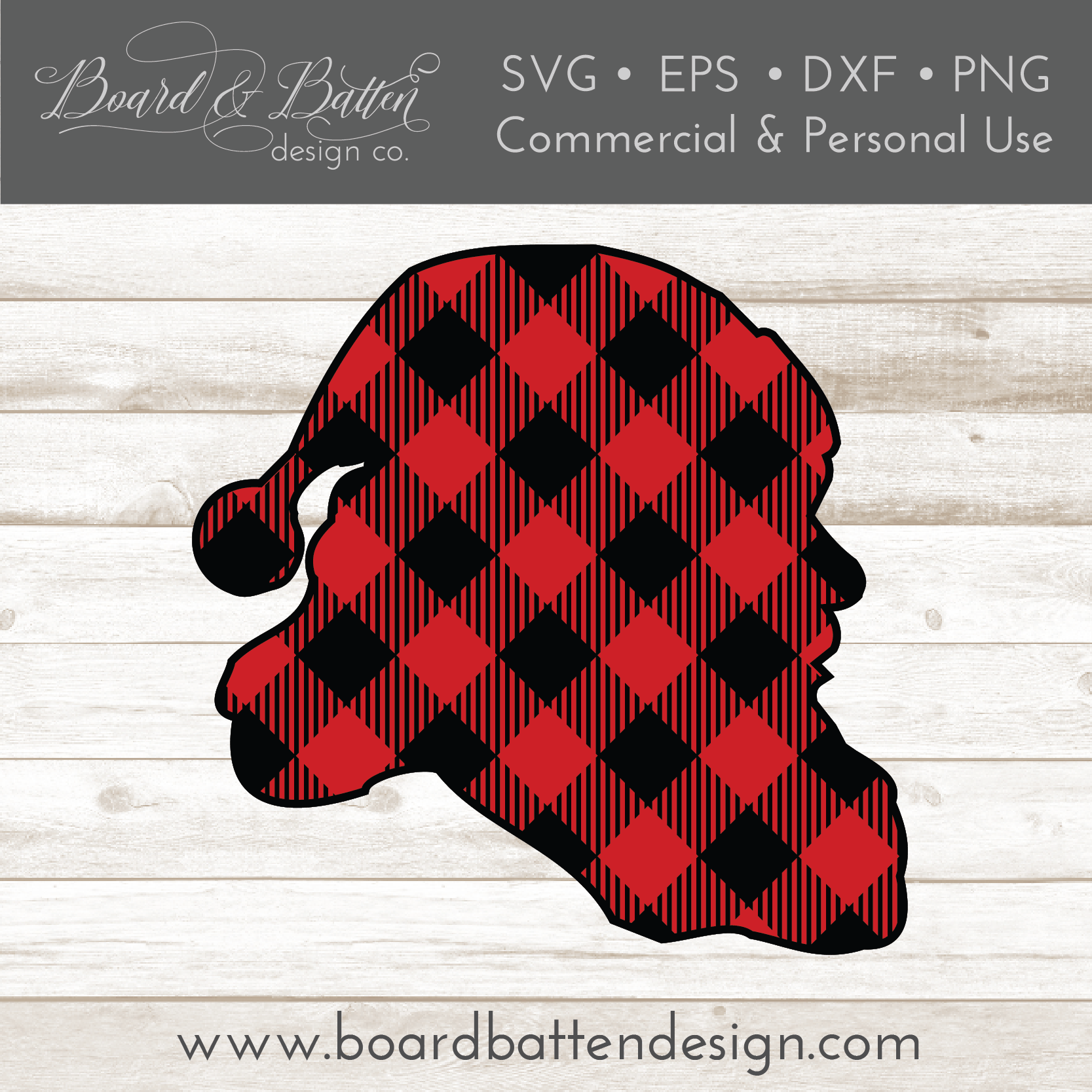 Buffalo Plaid Santa Head Silhouette Layered SVG