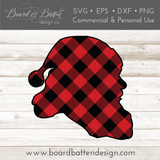 Buffalo Plaid Santa Head Silhouette Layered SVG - Commercial Use SVG Files