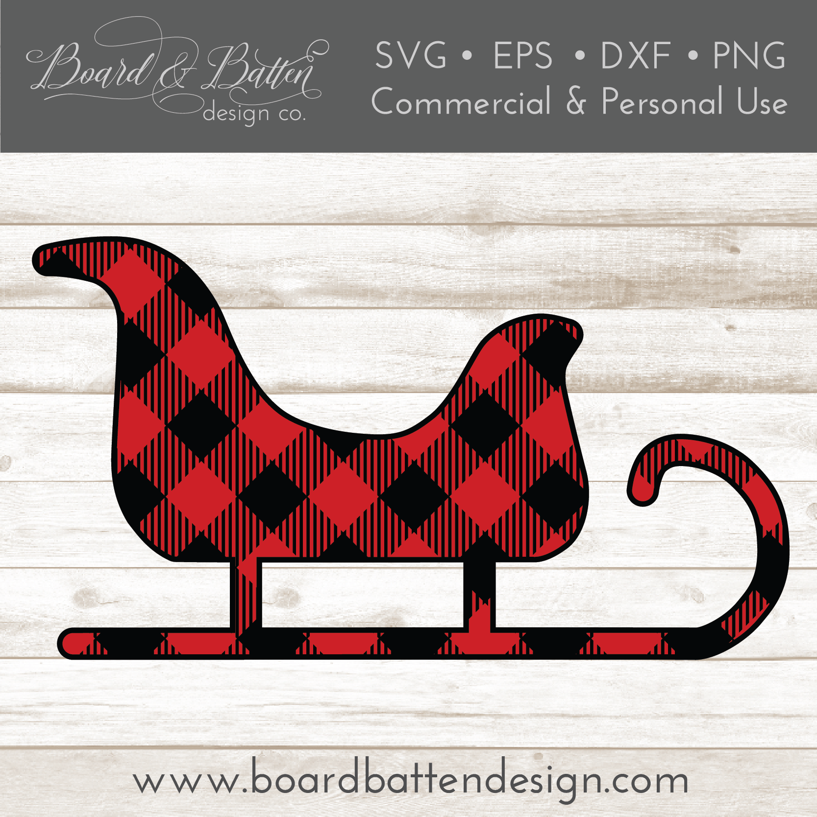 Buffalo Plaid Sleigh Shape Layered SVG - Commercial Use SVG Files