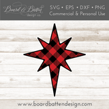 Buffalo Plaid Star of Bethlehem Shape Layered SVG