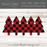 Buffalo Plaid Row of Trees Shape Layered SVG - Commercial Use SVG Files