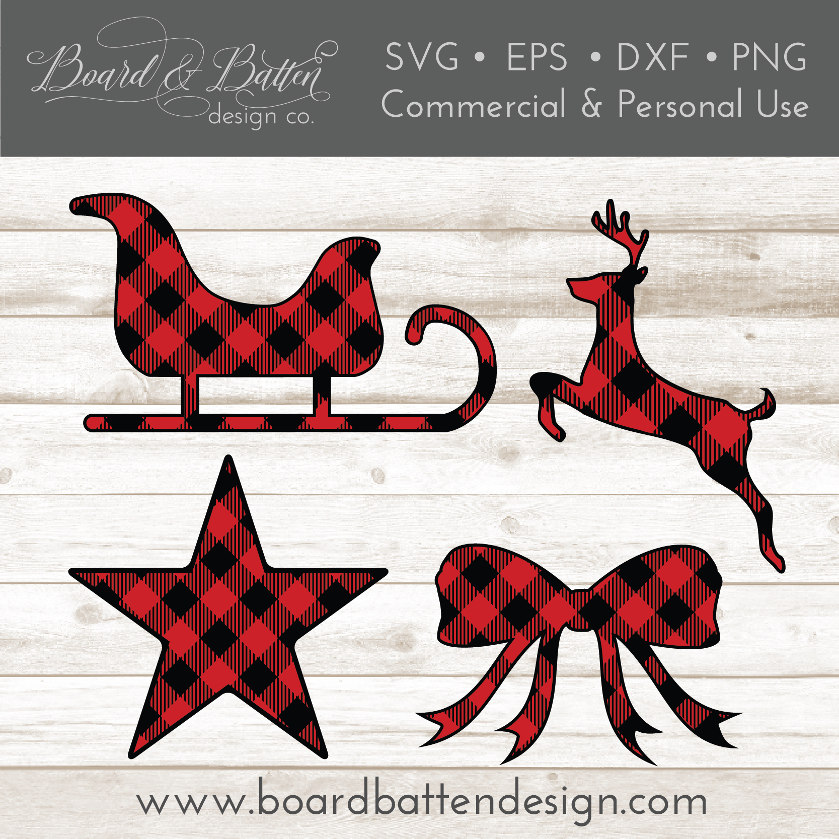 Buffalo Plaid Christmas Shapes Set 2 - Sleigh, Leaping Deer, Bow, and Star SVG File - Commercial Use SVG Files