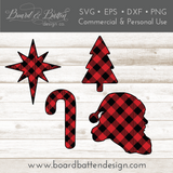 Buffalo Plaid Christmas Shapes Set 3 - Candy Cane, Santa Head, Star of Bethlehem, and Christmas Tree SVG File - Commercial Use SVG Files