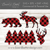 Buffalo Plaid Woodland Shapes Set - Bear, Moose, Pine Cone, Buck Head, and Row of Trees SVG Files - Commercial Use SVG Files