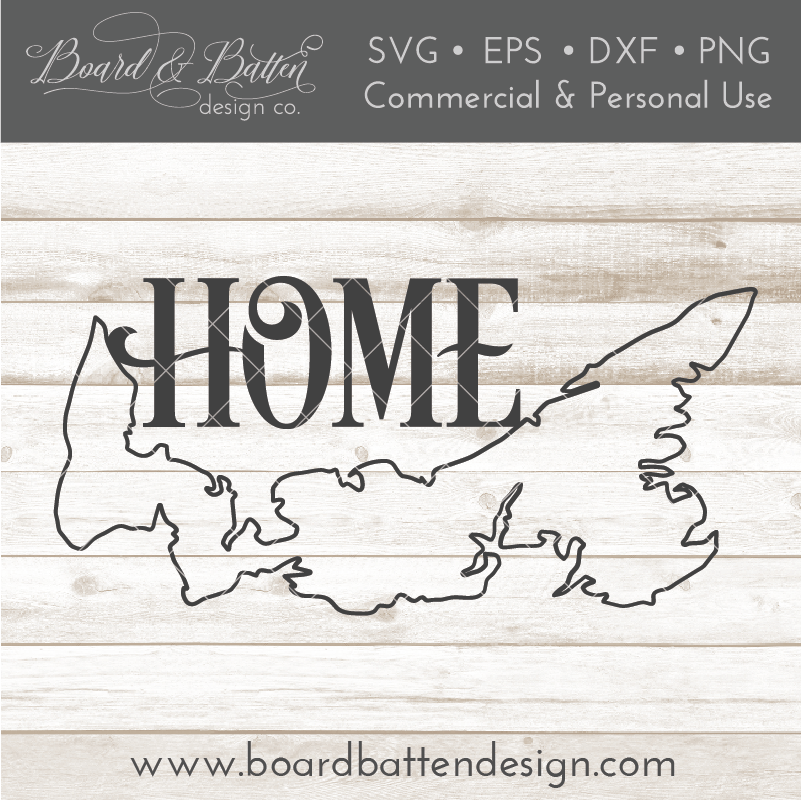 "Prince Edward Island PE  ""Home"" Outline SVG File - Canadian Province - Commercial Use SVG Files"