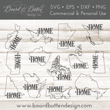 "Canadian Province Outline ""Home"" SVG File Set - All Provinces - Commercial Use SVG Files"