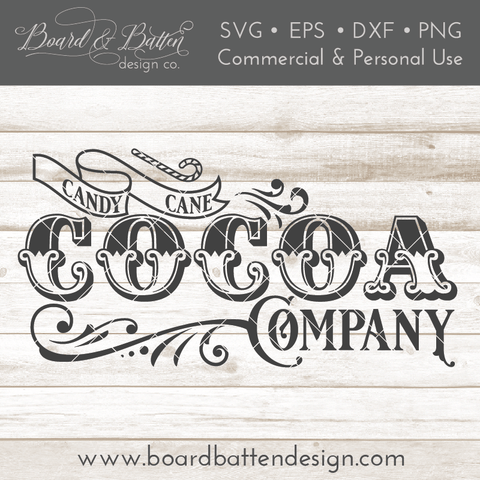 Candy Cane Cocoa Company Vintage SVG File