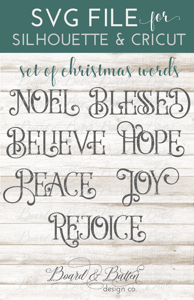 Christmas Words Svg Set 1 Board Amp Batten Design Co