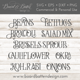 Farmhouse Garden Markers 39 Plant Names SVG File Set - Commercial Use SVG Files