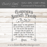 Gardener's Serenity Prayer SVG File - Commercial Use SVG Files