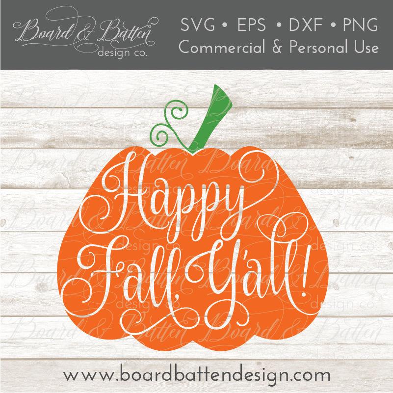 Happy Fall Y'all Pumpkin SVG File
