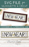 Happy New Year 6x24 SVG File for Wood Tiles - Commercial Use SVG Files
