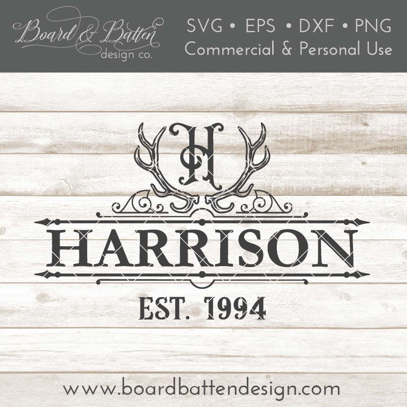 Antlers A-Z Monogram Last Name Est Date Sign Frame SVG - Commercial Use SVG Files