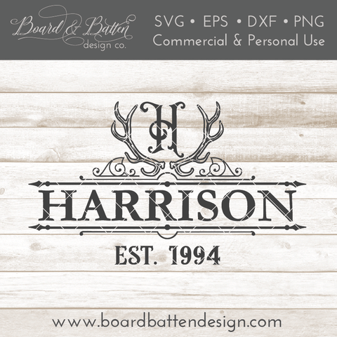 Antlers A-Z Monogram Last Name Est Date Sign Frame SVG