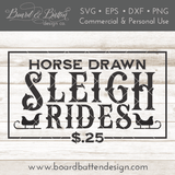 Horse Drawn Sleigh Rides Farmhouse Christmas SVG File - Commercial Use SVG Files