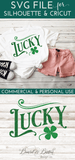 Vintage Lucky with Shamrock SVG File - Commercial Use SVG Files
