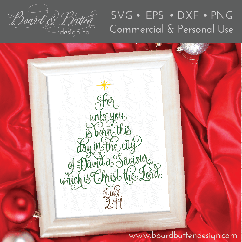 Scripture Christmas Tree Luke 2 11 Svg File Board