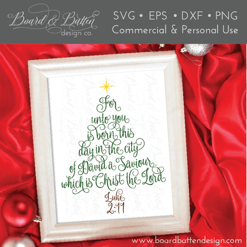 Scripture Christmas Tree Luke 2:11 SVG File