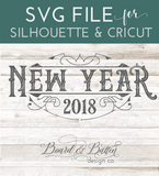 Vintage Style New Year 2018 SVG File - Commercial Use SVG Files
