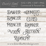 Vintage Reindeer Names SVG Set - Commercial Use SVG Files