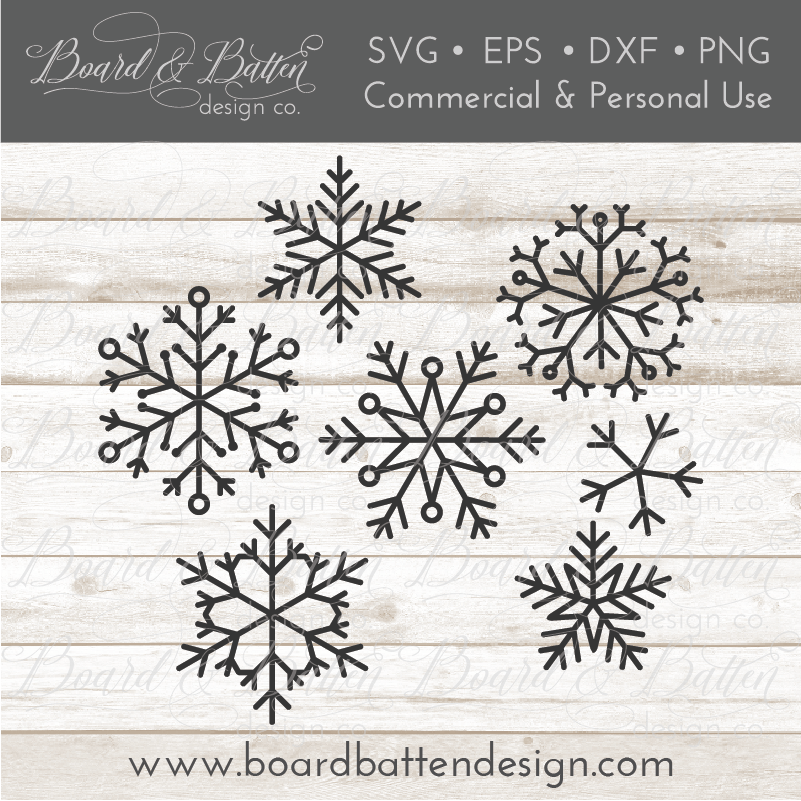 Set of 7 Snowflakes SVG Bundle - Commercial Use SVG Files