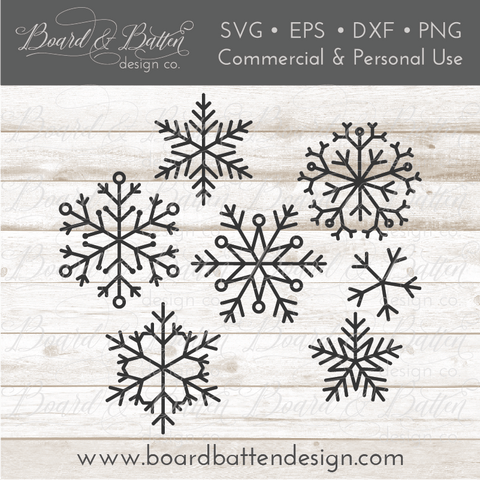 Set of 7 Snowflakes SVG Bundle