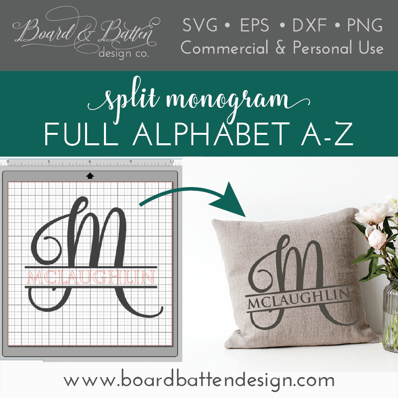 Split Monogram SVG File Alphabet – Script Style - Commercial Use SVG Files