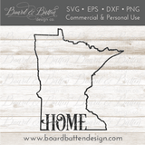 "State Outline ""Home"" SVG File - MN Minnesota - Commercial Use SVG Files"