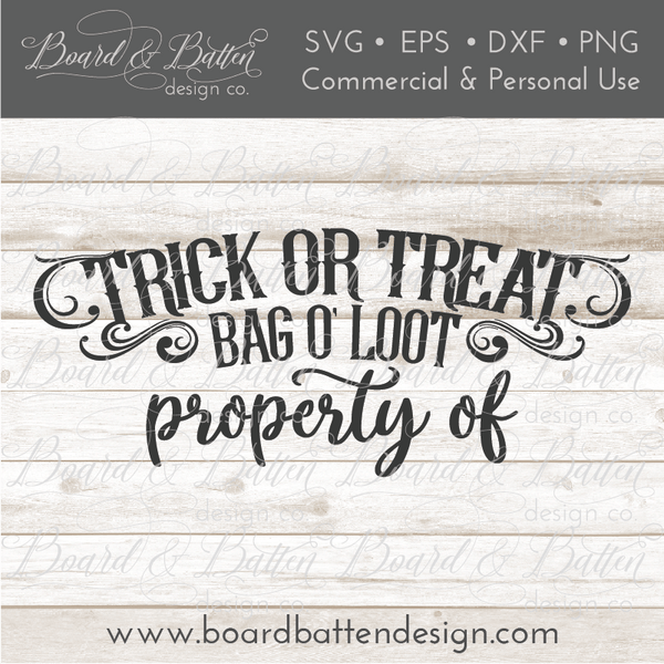 Personalizable Trick Or Treat Halloween Loot Bag Svg
