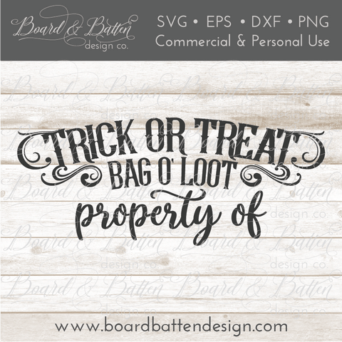 Personalizable Trick or Treat Halloween Loot Bag SVG Design