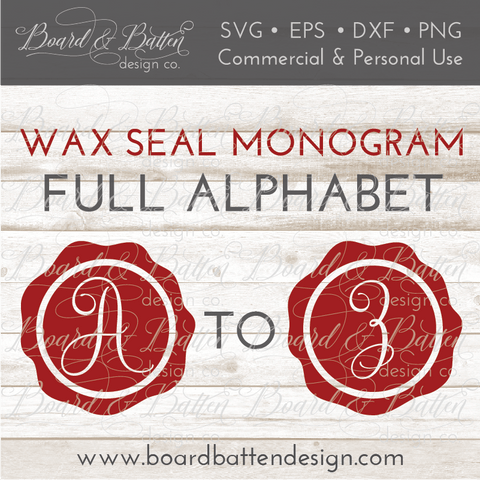 Wax Seal Monogram Alphabet SVG File