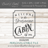 Welcome To Yourname Cabin With Est Date SVG - Commercial Use SVG Files