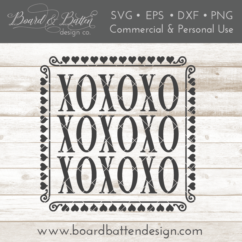 Valentine's Day XOXOXO Square SVG File - Commercial Use SVG Files