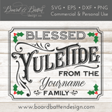 Personalizable Blessed Yuletide 8x10 SVG File - Commercial Use SVG Files