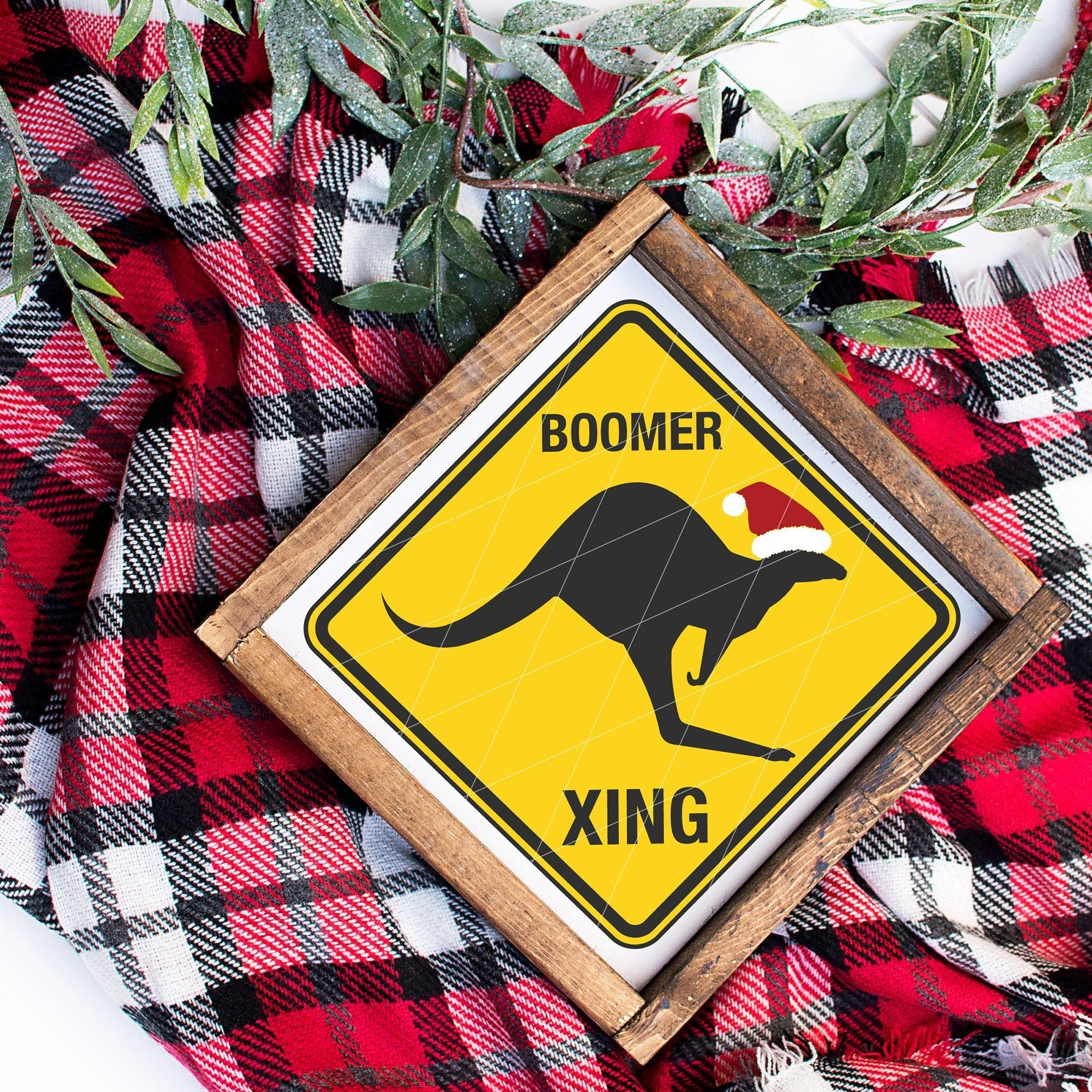 Boomer Crossing Caution Sign SVG For Australian Christmas - Commercial Use SVG Files